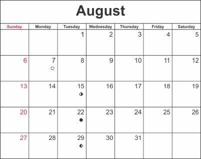 Printable Calendar 2018 August