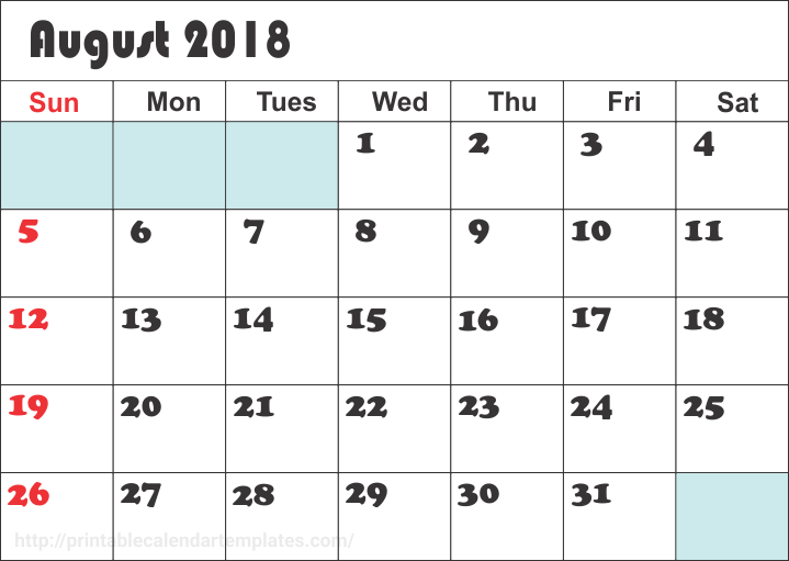 August 2018 Calendar, August 2018 Printable Calendar