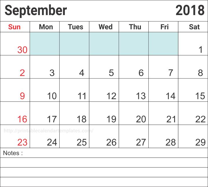 September 2018 Calendar Template, September 2018 Calendar Editable
