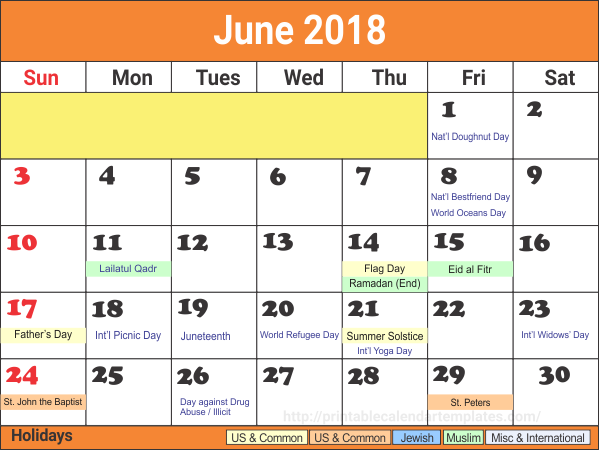June 2018 holiday Calendar