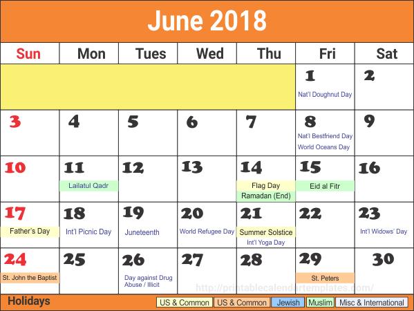 June 2018 holiday Calendar