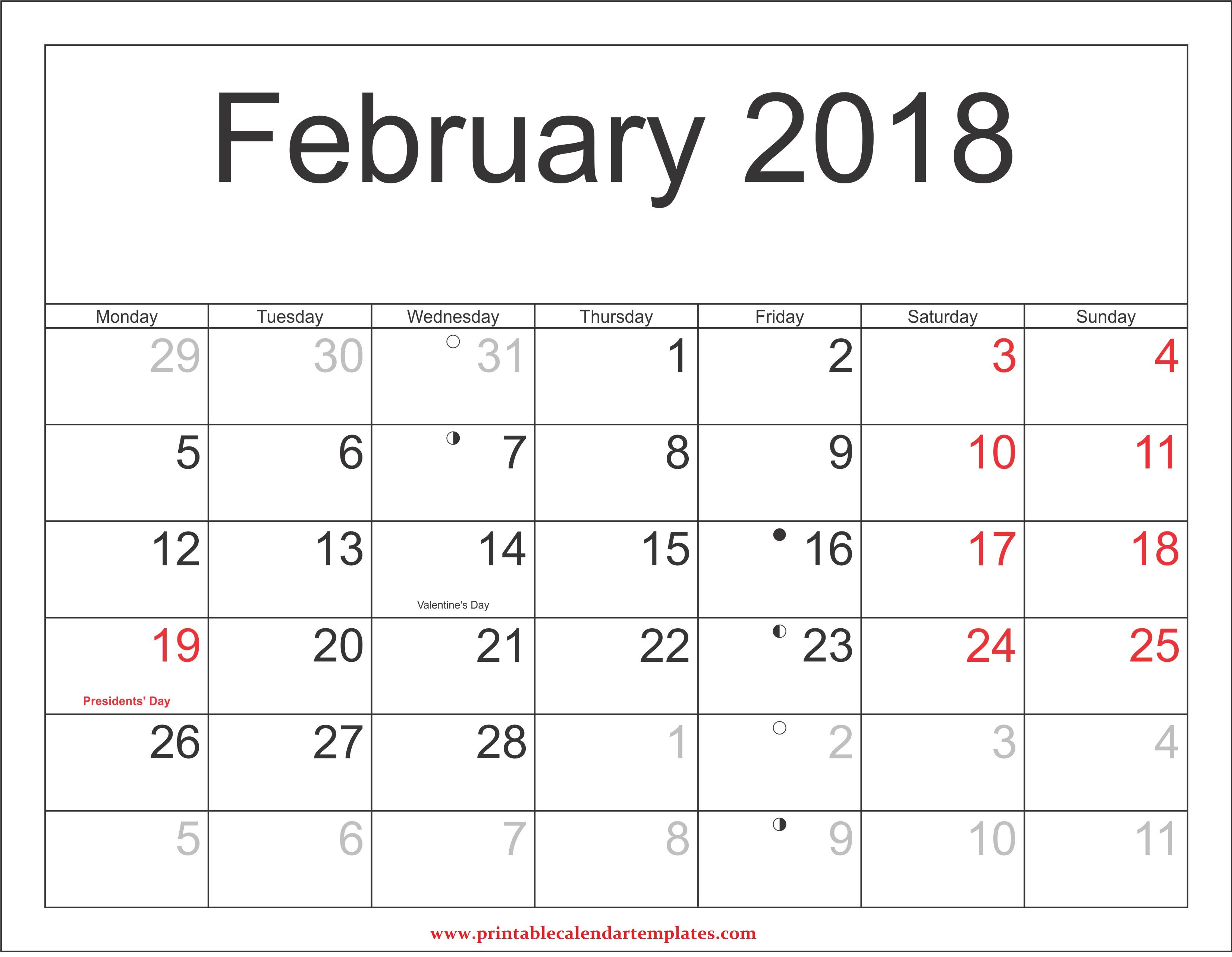 February-2018-Calendar-with-holidays-
