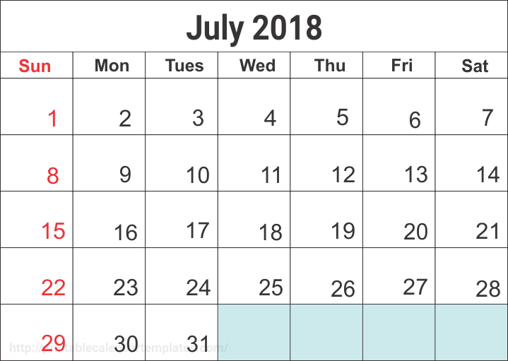 July 2018 Calendar Printable, July 2018 Calendar editable