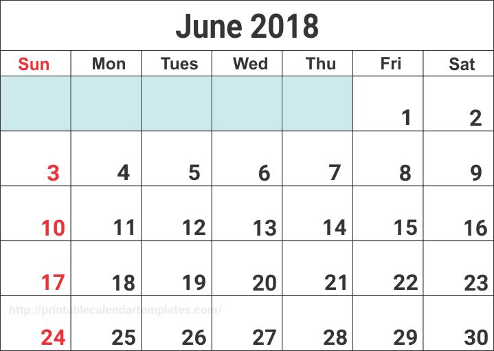 June 2018 Calendar, june 2018 printable calendar