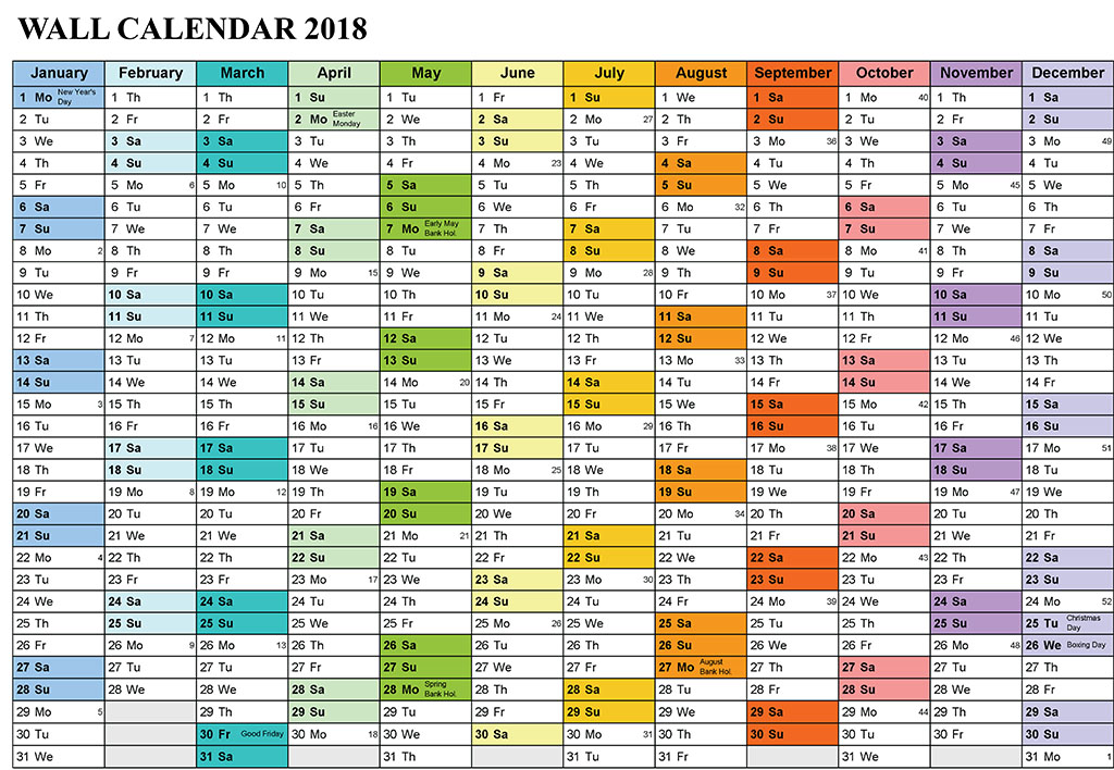 Free Printable Large wall calendar 2018 | Printable Calendar Templates