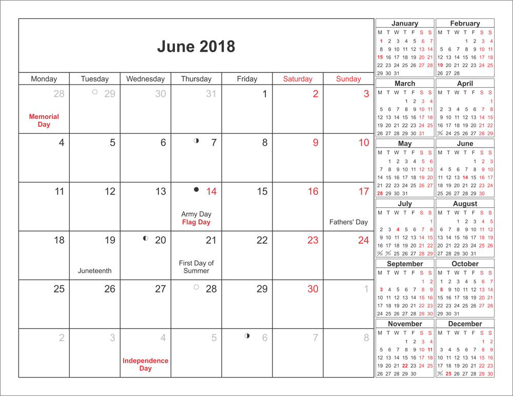 June 2018 calendar with Holiday, June 2018 Blank calendar