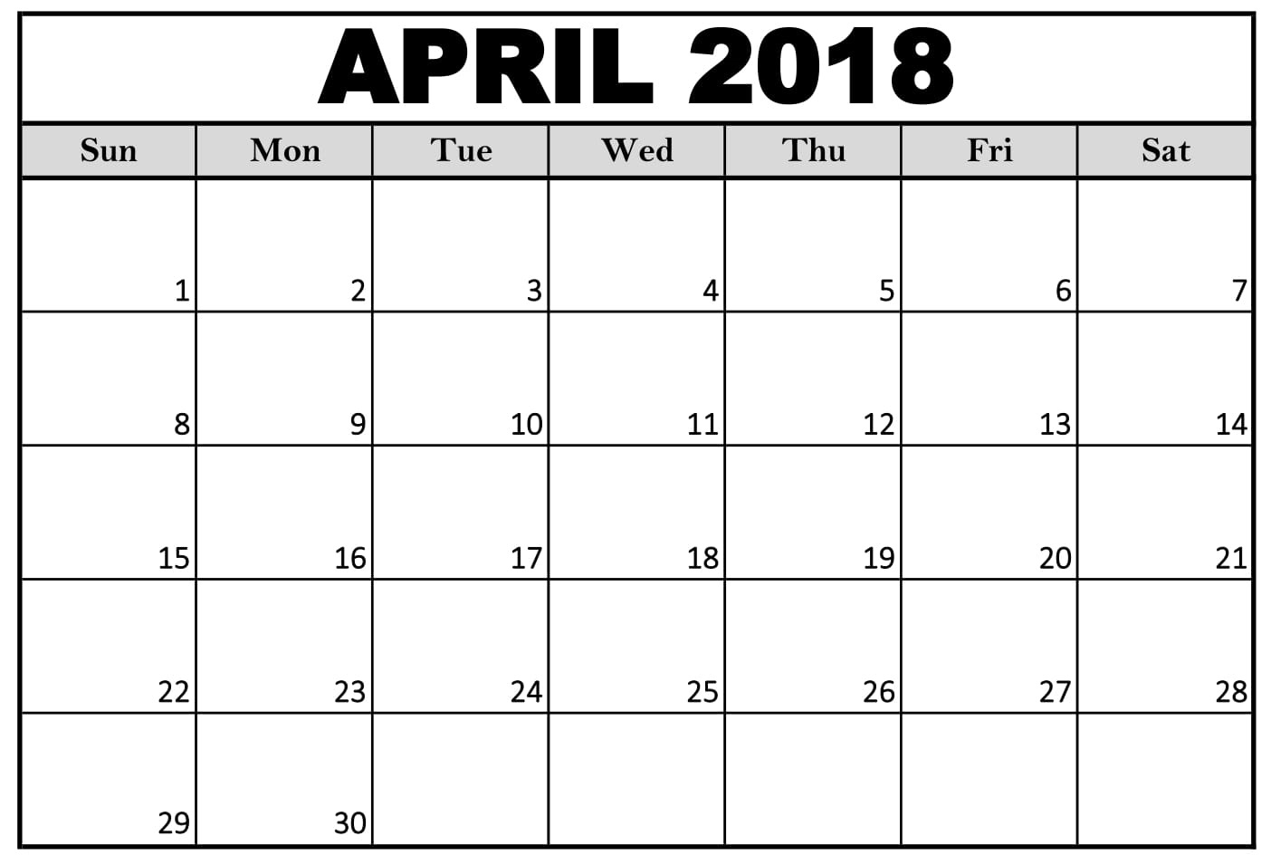 April 2018 Calendar Word, April 2018 Blank Calendar