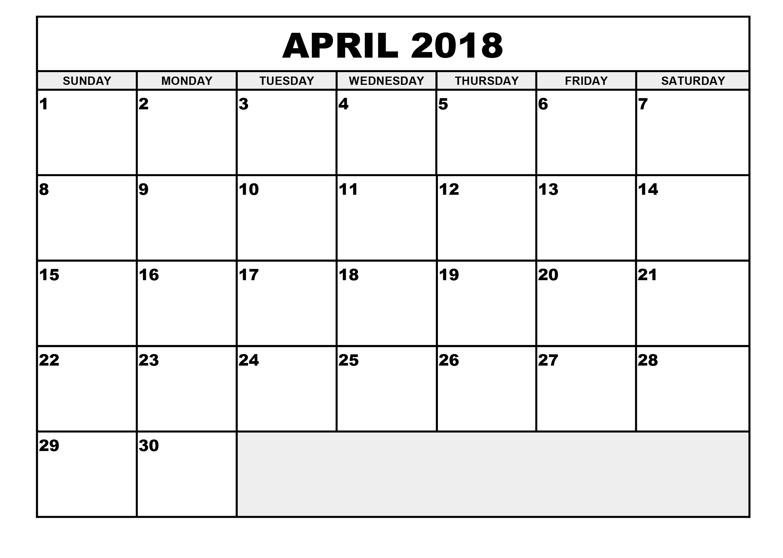 2018 April Calendar Template Free Download April 2018 Calendar Template PDF Word Excel