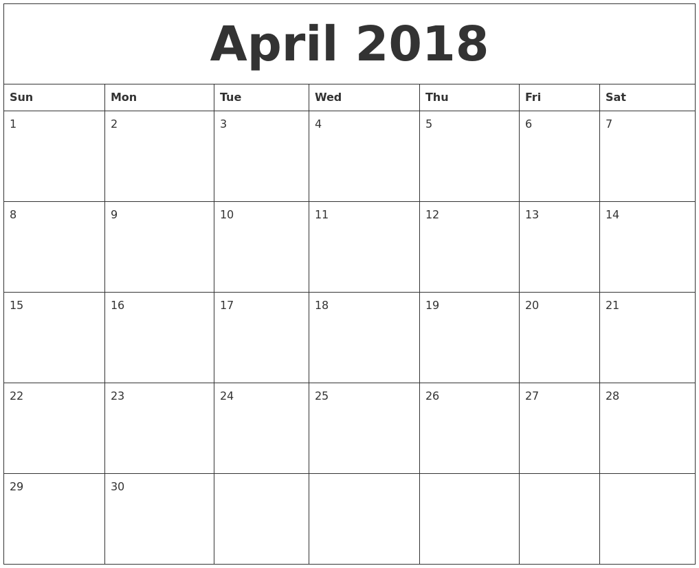 April 2018 Calendar Excel, April 2018 Calendar Printable