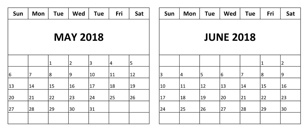 Calendar May June : May and june two months free calendar printable