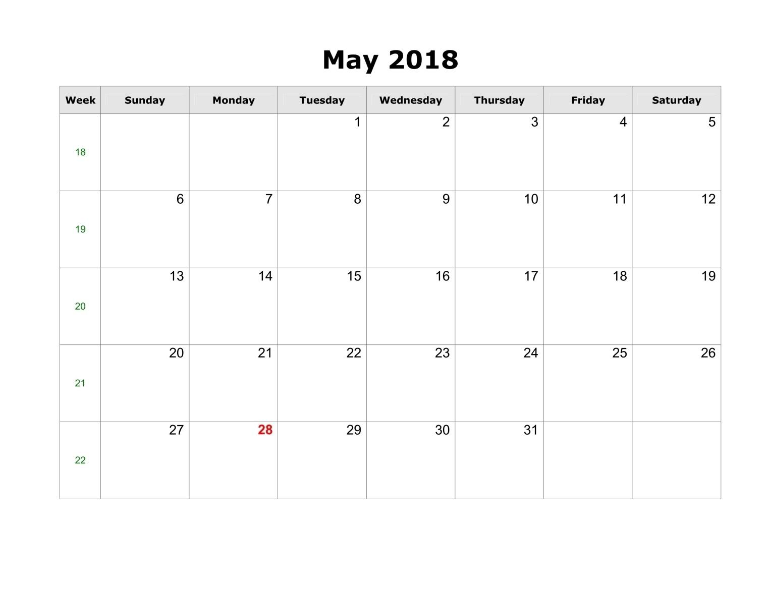 May 2018 Printable Calendar, 2018 May Calendar