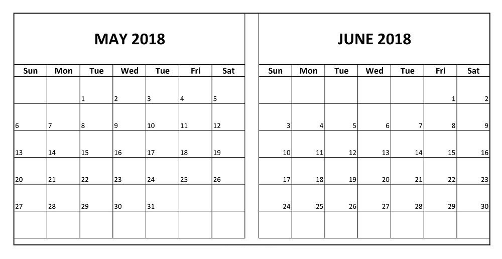 Calendar May And June Printable : May and june two months free calendar printable