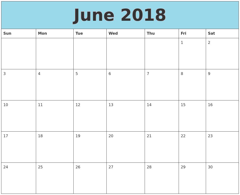 June 2018 Printable Calendar, June 2018 Calendar Template