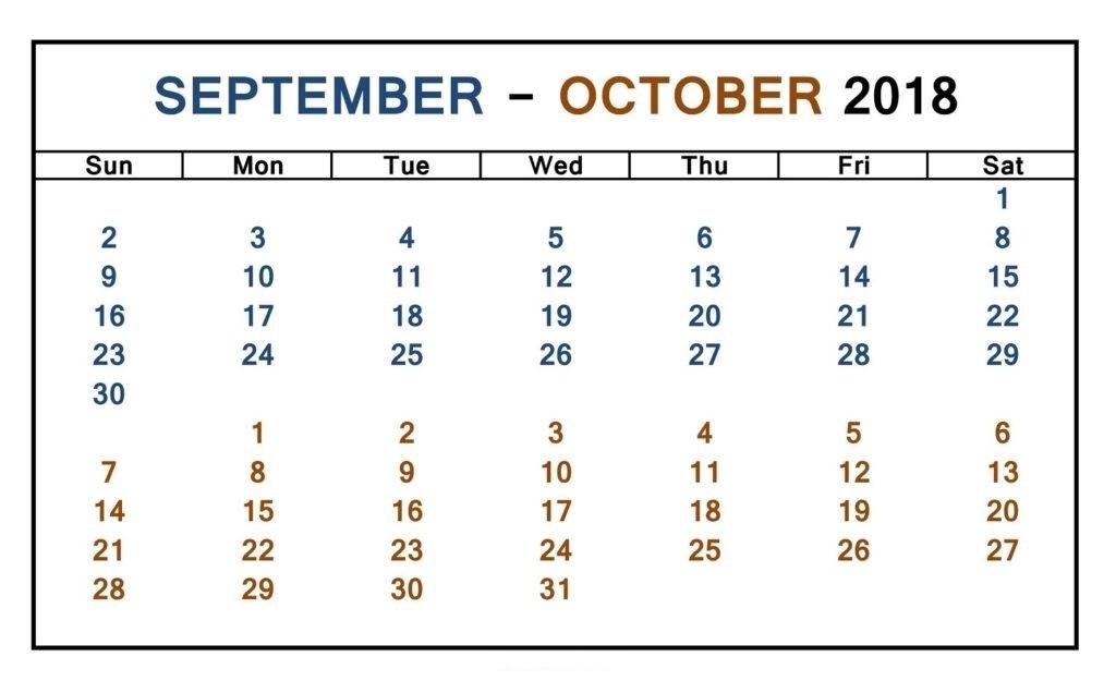 September & October 2018 Calendar