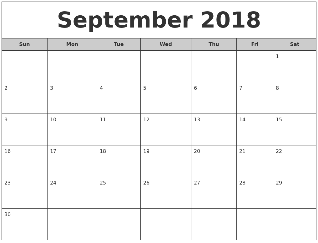 2018 September Calendar