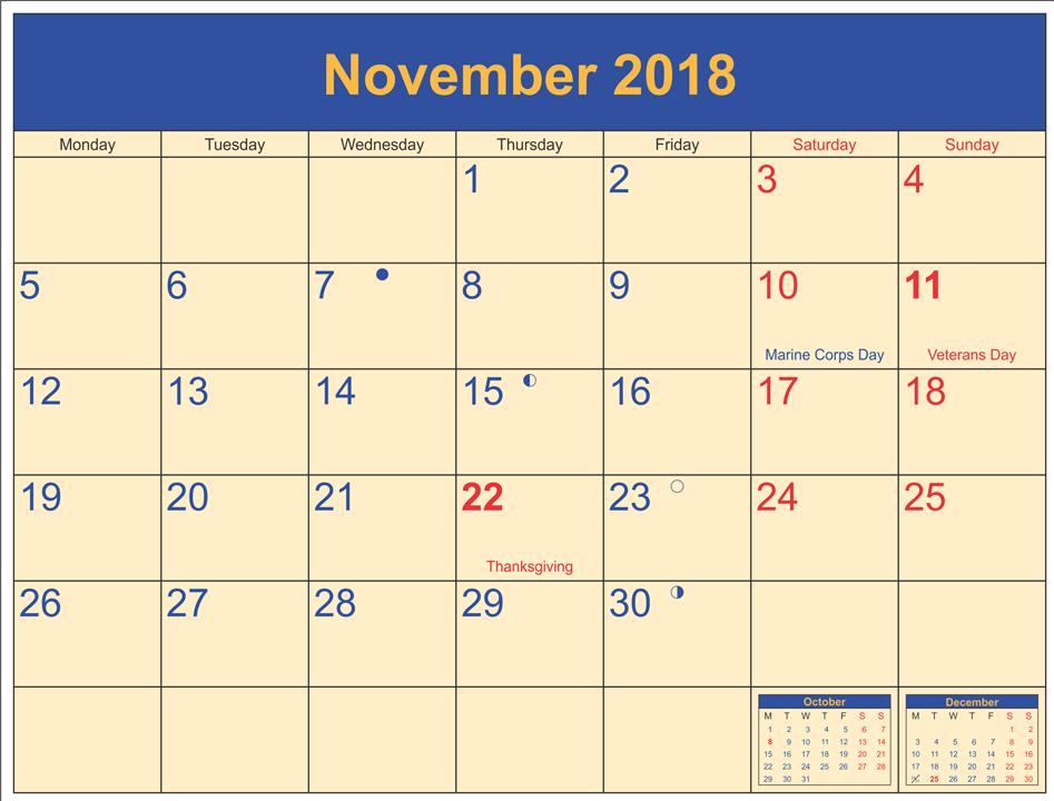 November 2018 Moon Schedule Calendar