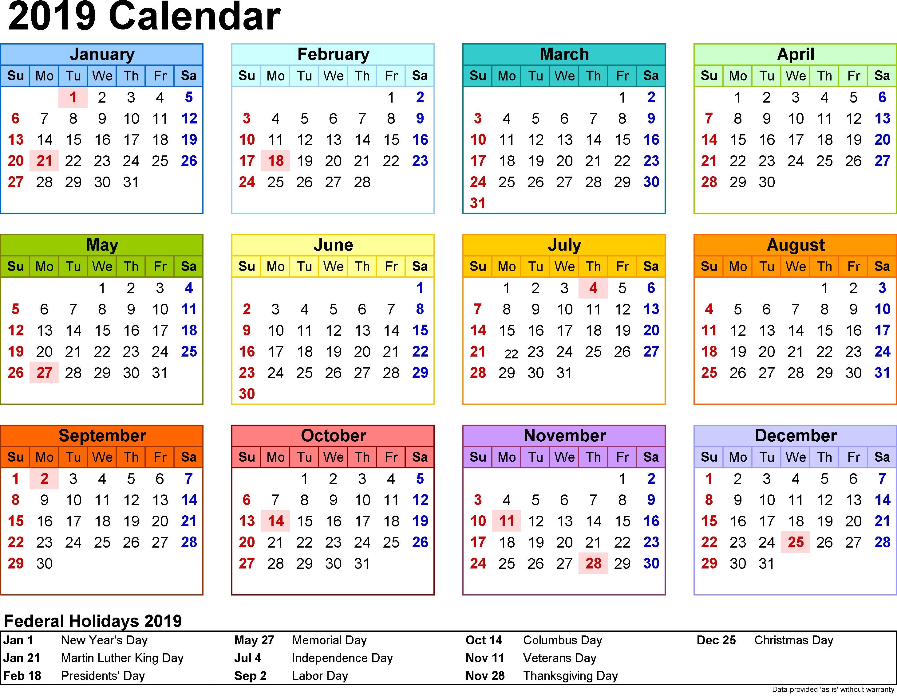Calendar 2019 with UK Holidays