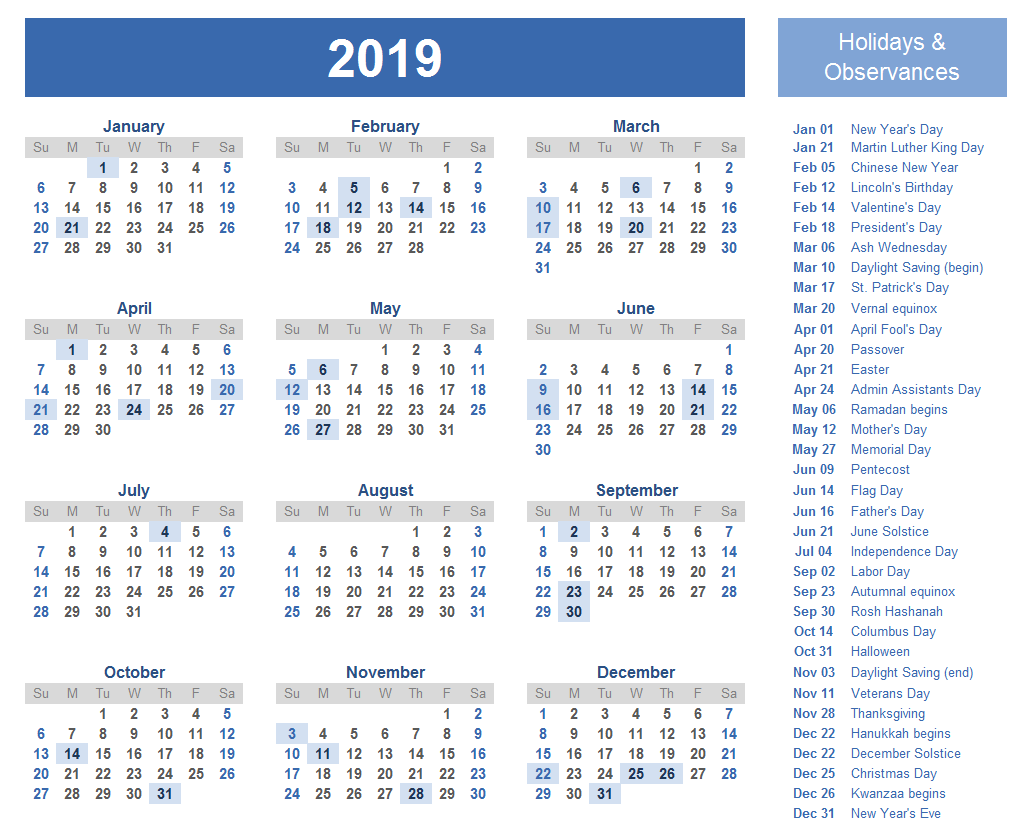 Holiday Calendar 2019 USA