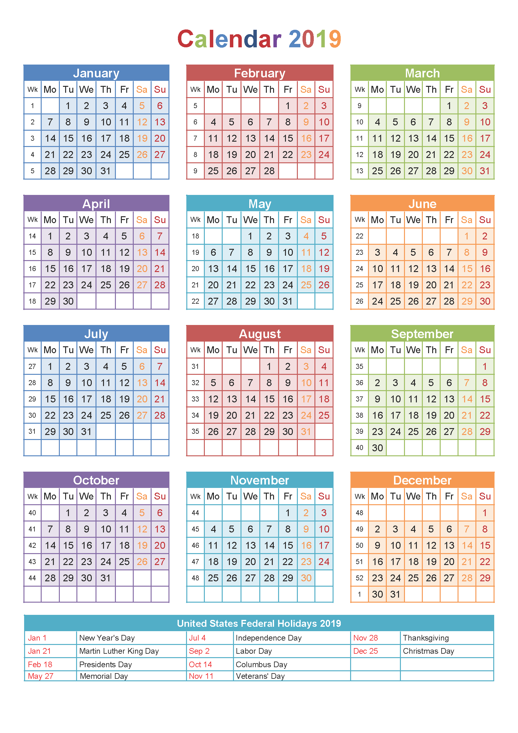 Get Free Printable Calendar 2019 Templates | Printable ...