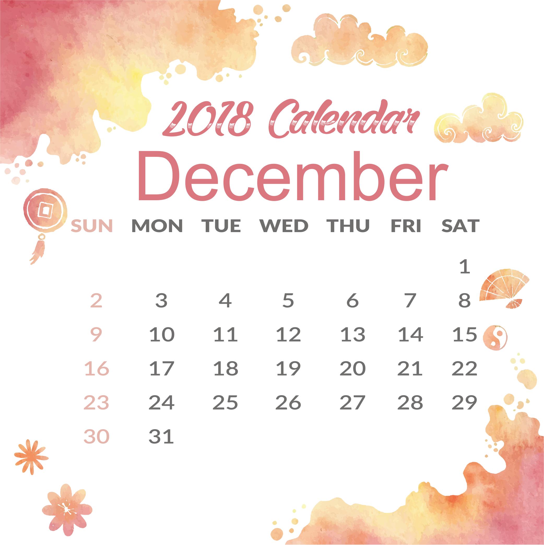 Free December Blank 2018 A4 Printable Calendar