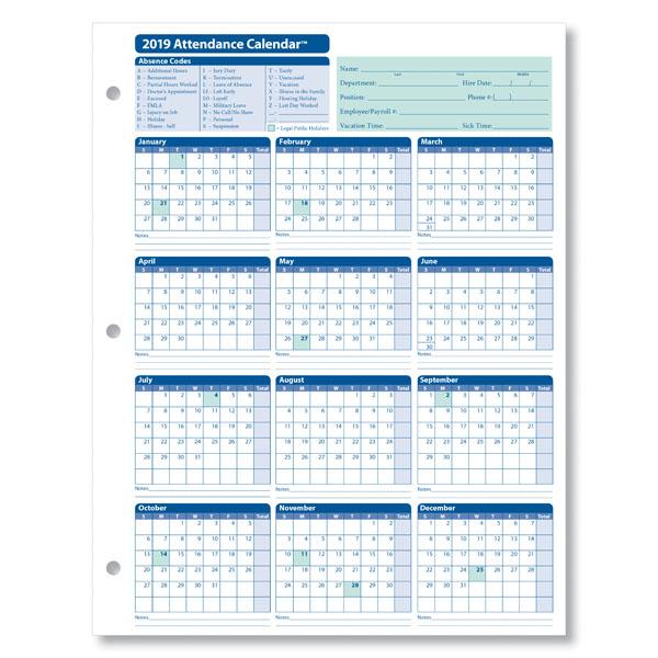 2019 Attendance Calendar