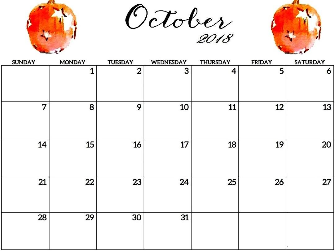 Free October 2018 Editable Calendar Printable {Download ...
