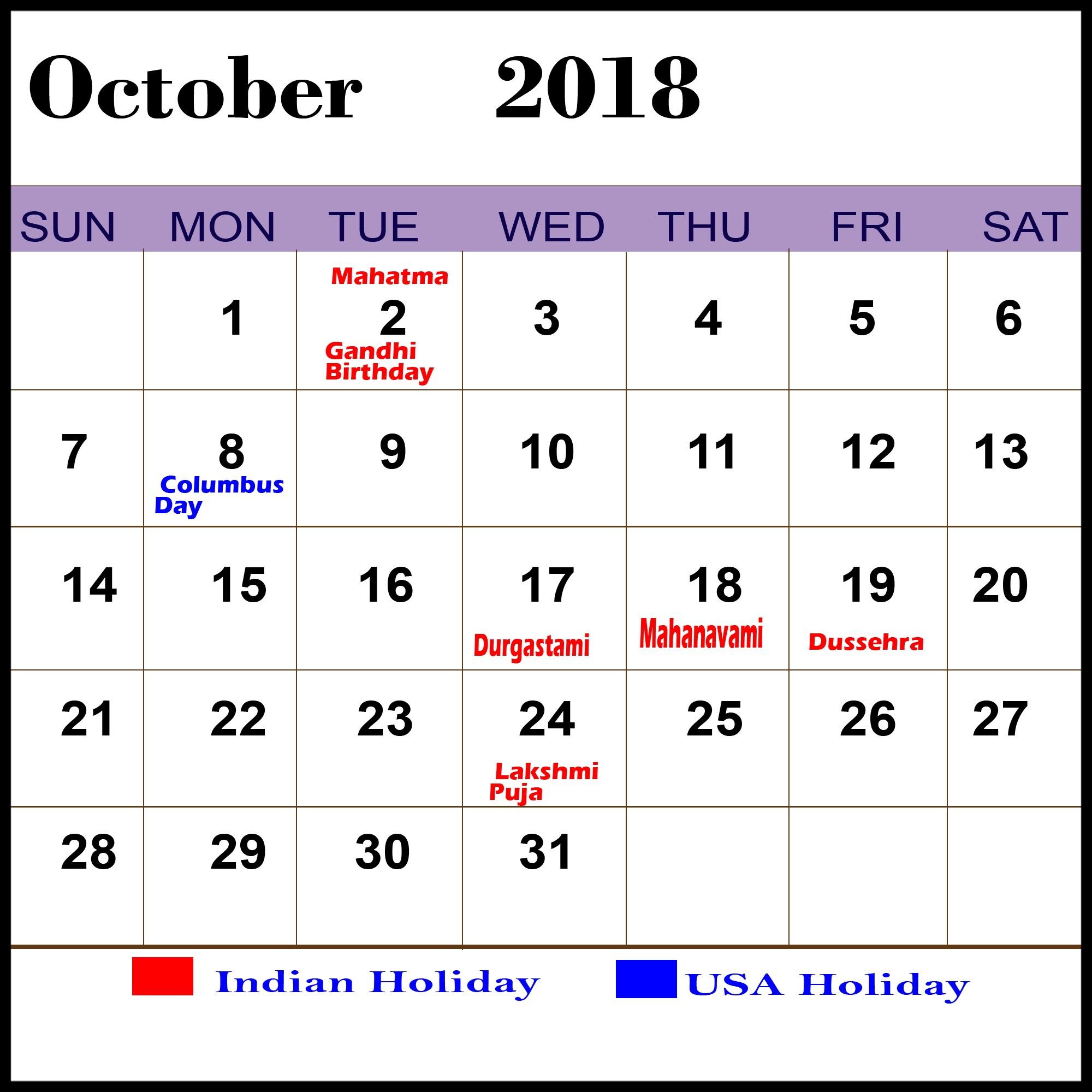 October 2018 Holiday Calendar UK