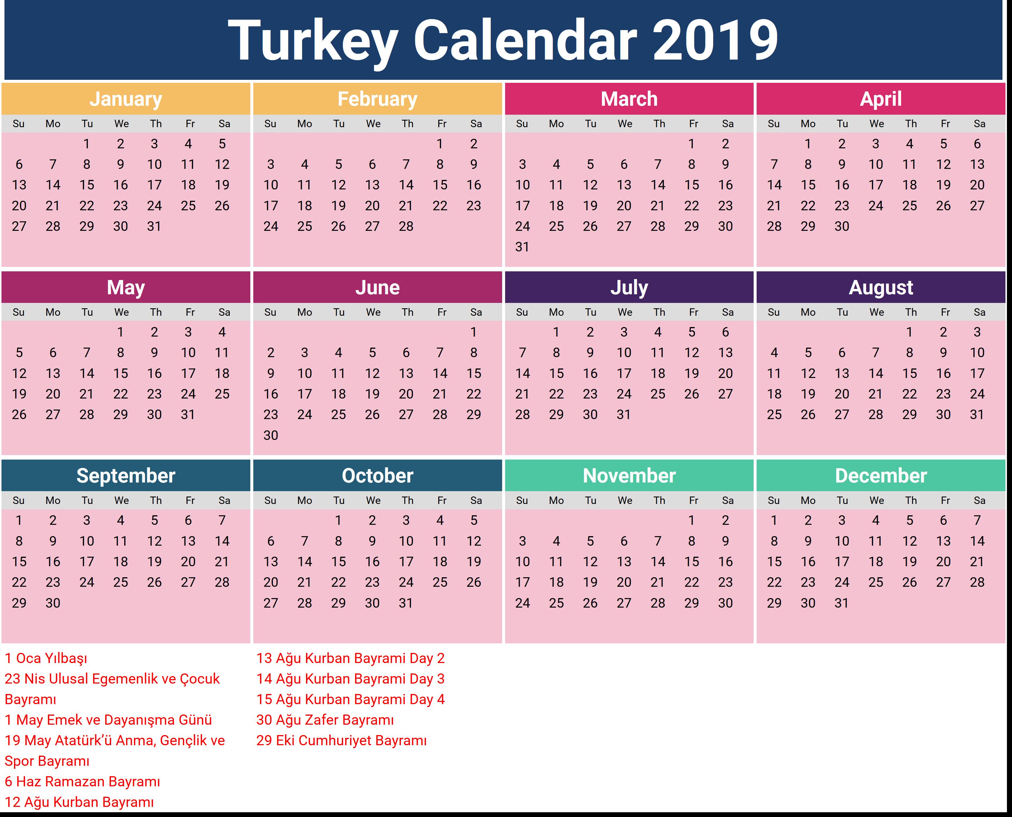 Turkey Holidays Calendar 2019
