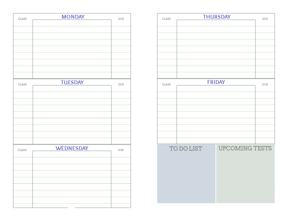 Free Printable Student Planners