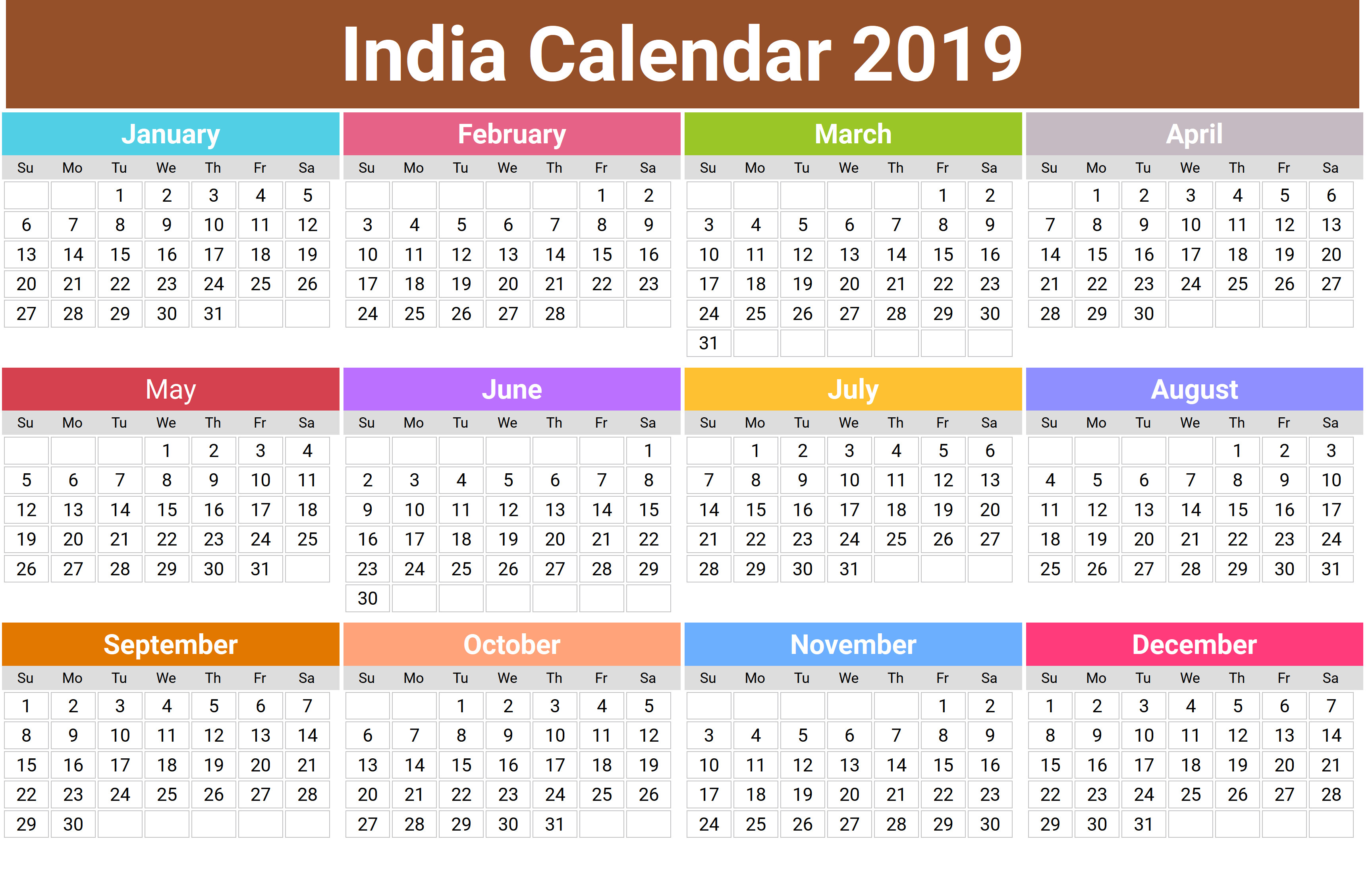 Yearly Calendar 2019 with Indian Holidays