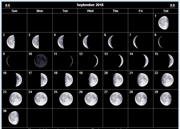 When is the next Full Moon September 2018?