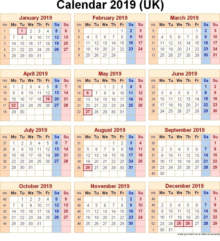 UK Holidays Calendar 2019