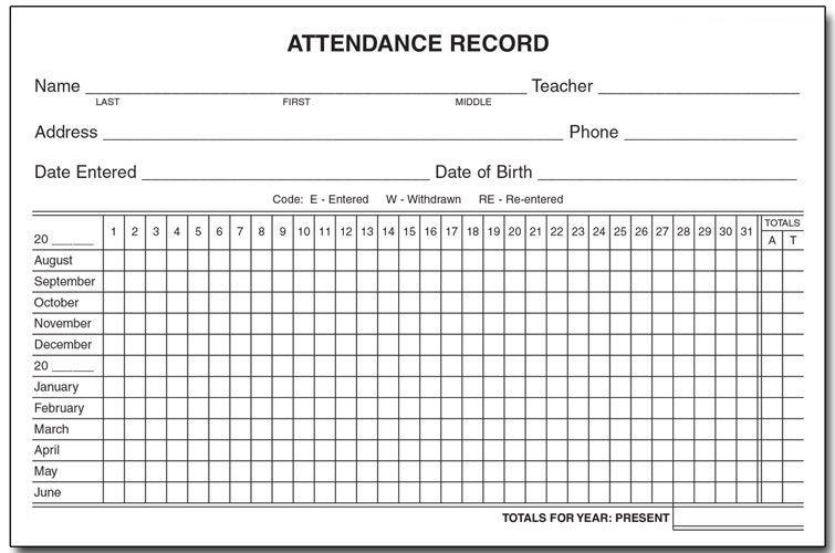 Printable Employee Attendance Calendar 2020