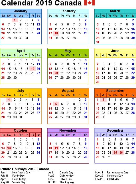 Canada Holidays Calendar 2019
