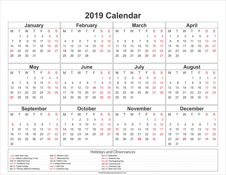 free printable calendar 2019 with singapore holidays
