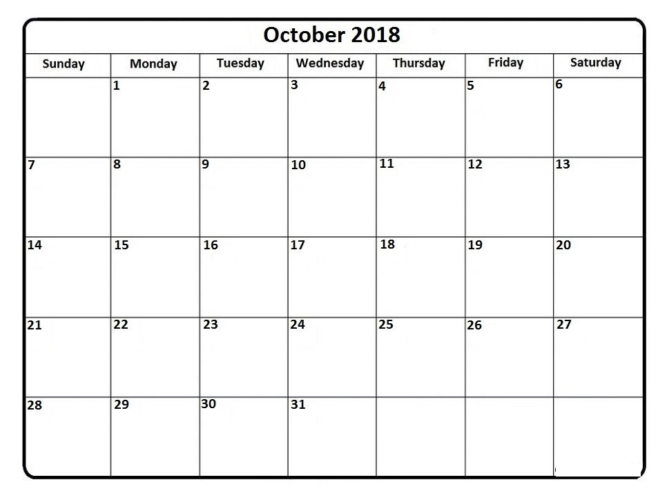 October 2018 Calendar * October 2018 Calendar Printable intended for Calendar October 2018 Printable