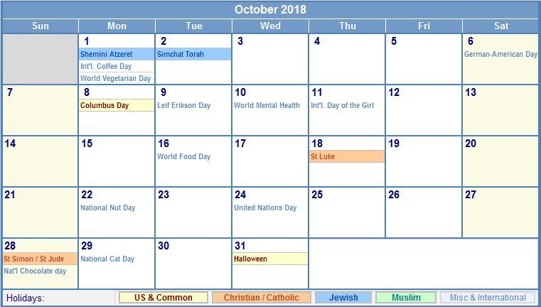 October 2018 Holiday Calendar USA