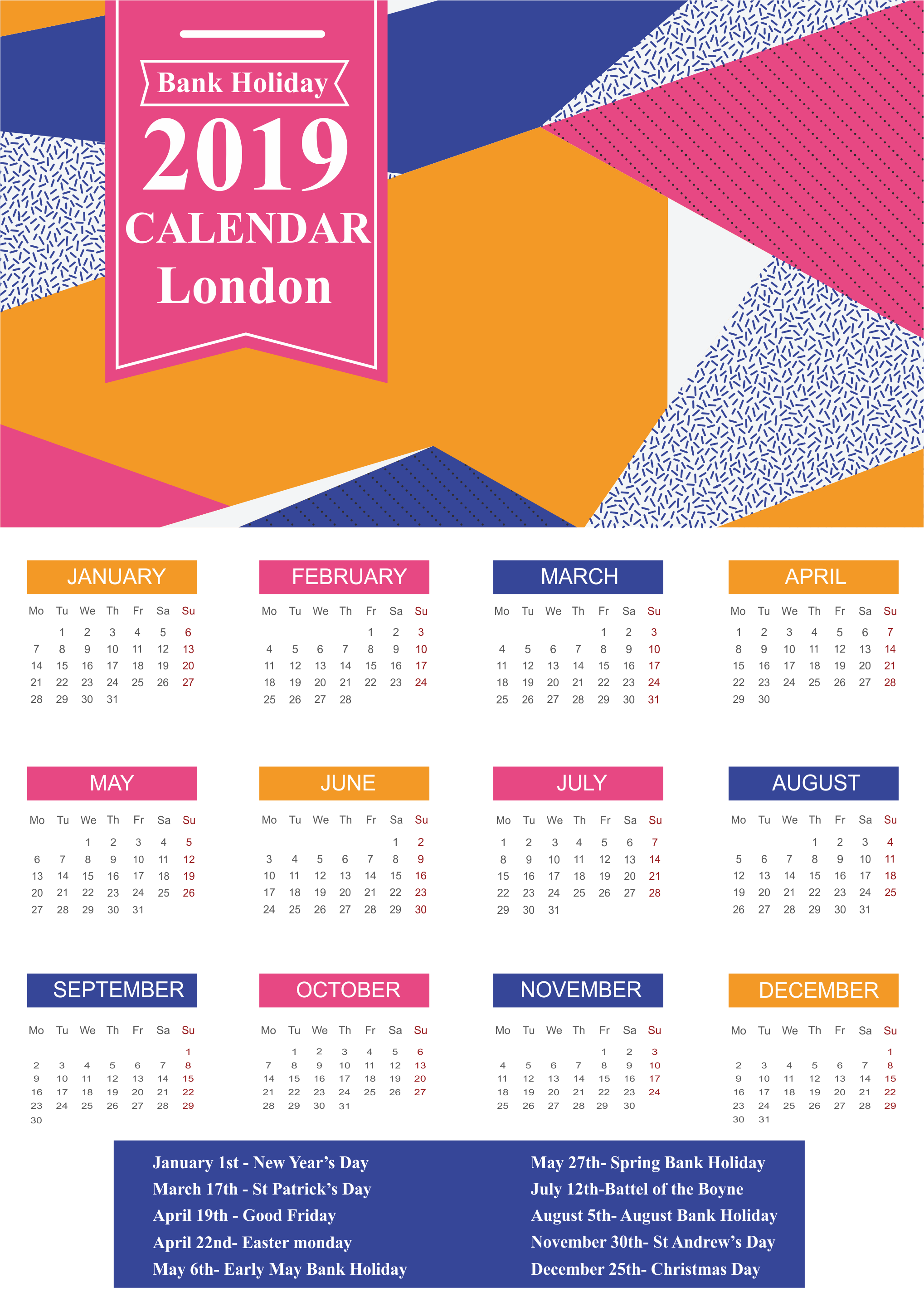 London Holidays 2019 Calendar