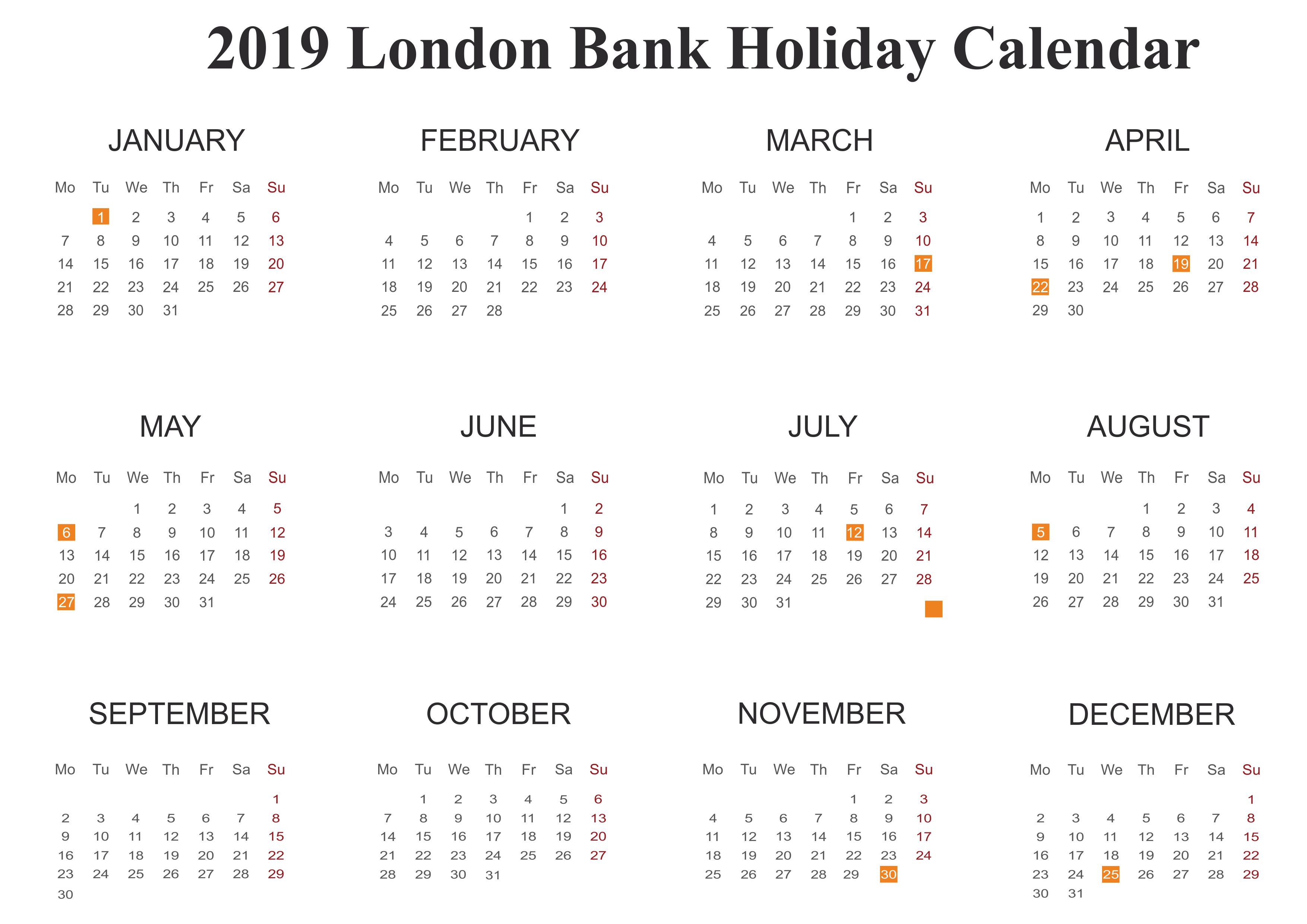 London Calendar 2019 PDF Excel Word