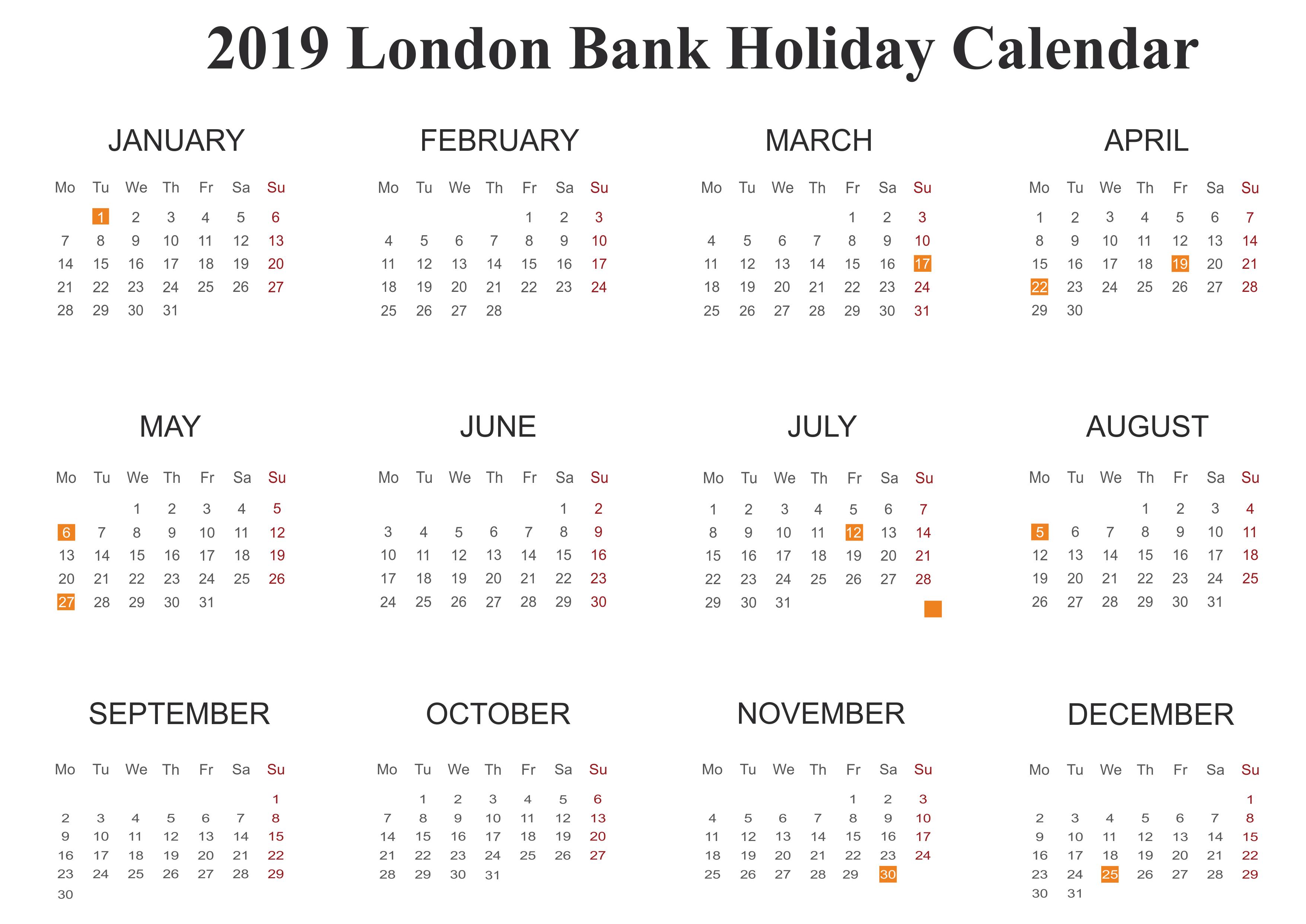 London Public Holidays 2019 Templates