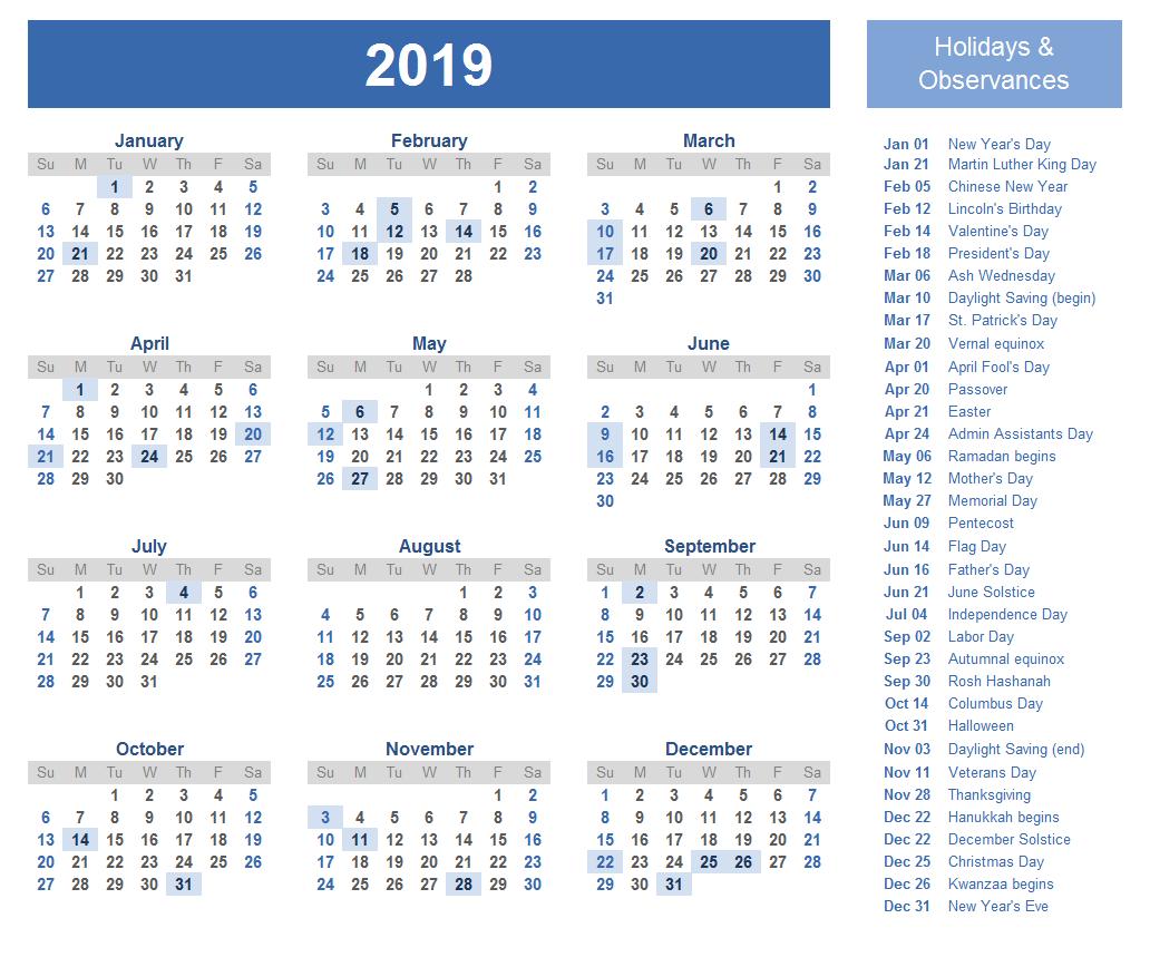 Printable Calendar 2019 with Austin Holidays