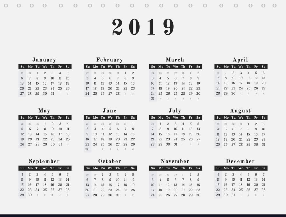 Blank Desk Calendar 2019