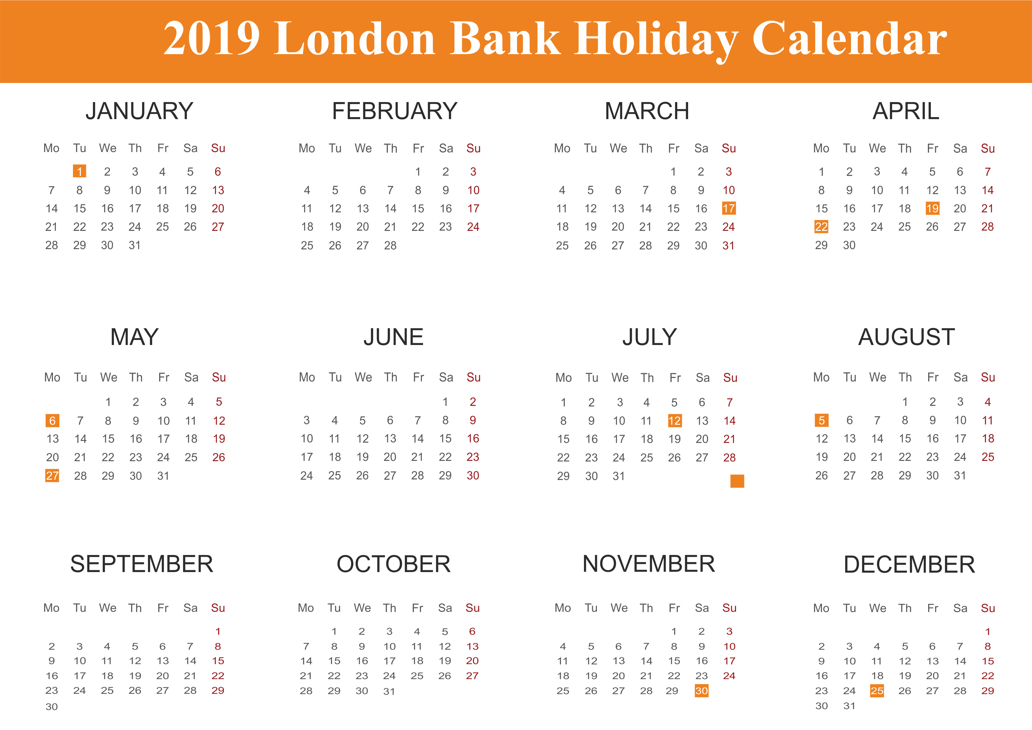 Public Holidays in London 2019