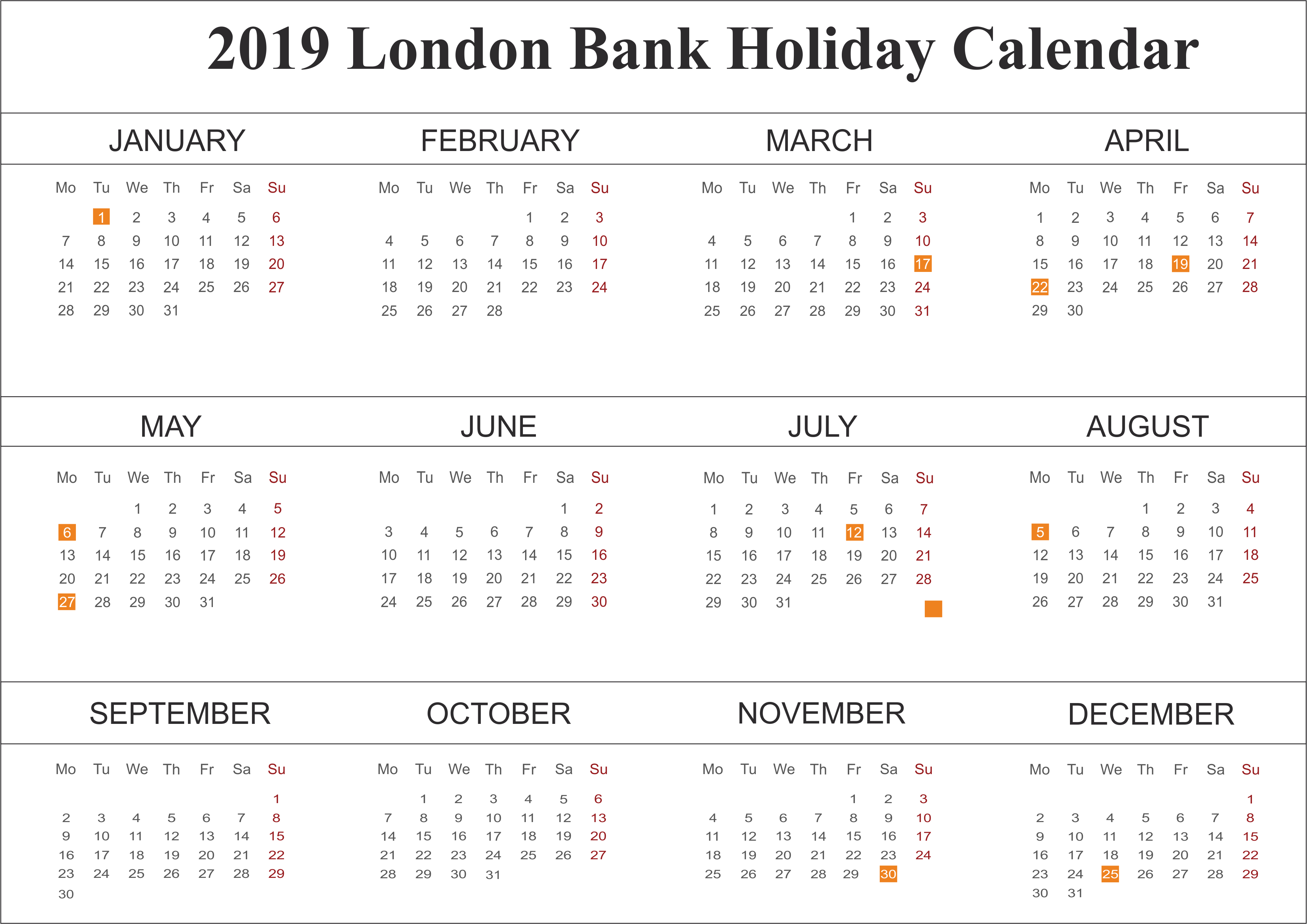 2019 London Public Holidays Calendar
