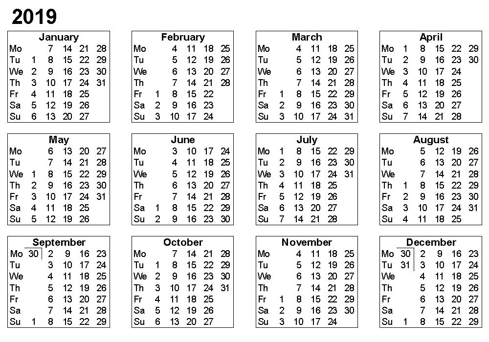 Small Desk Calendar 2019