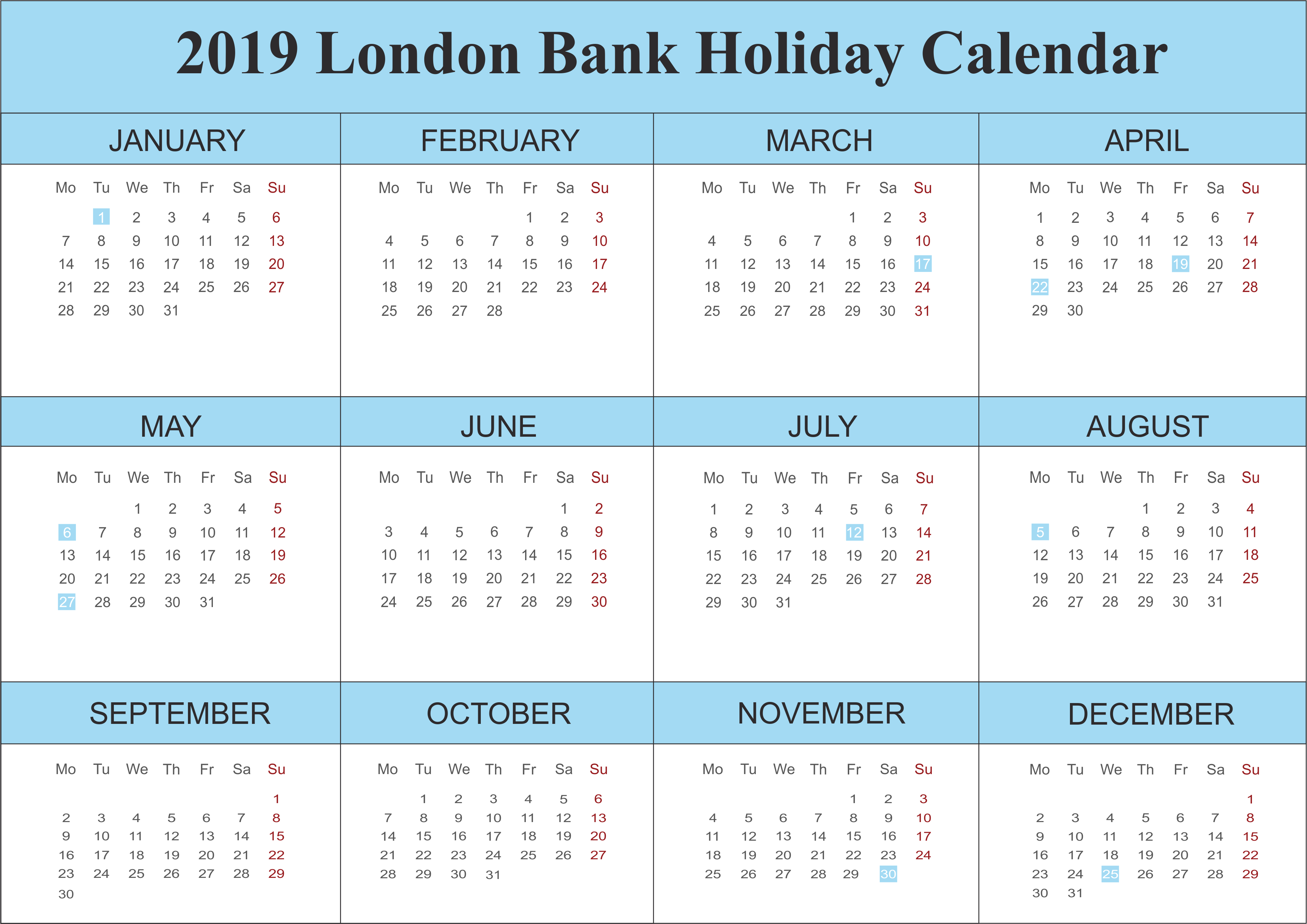 Calendar 2019 with London Holidays