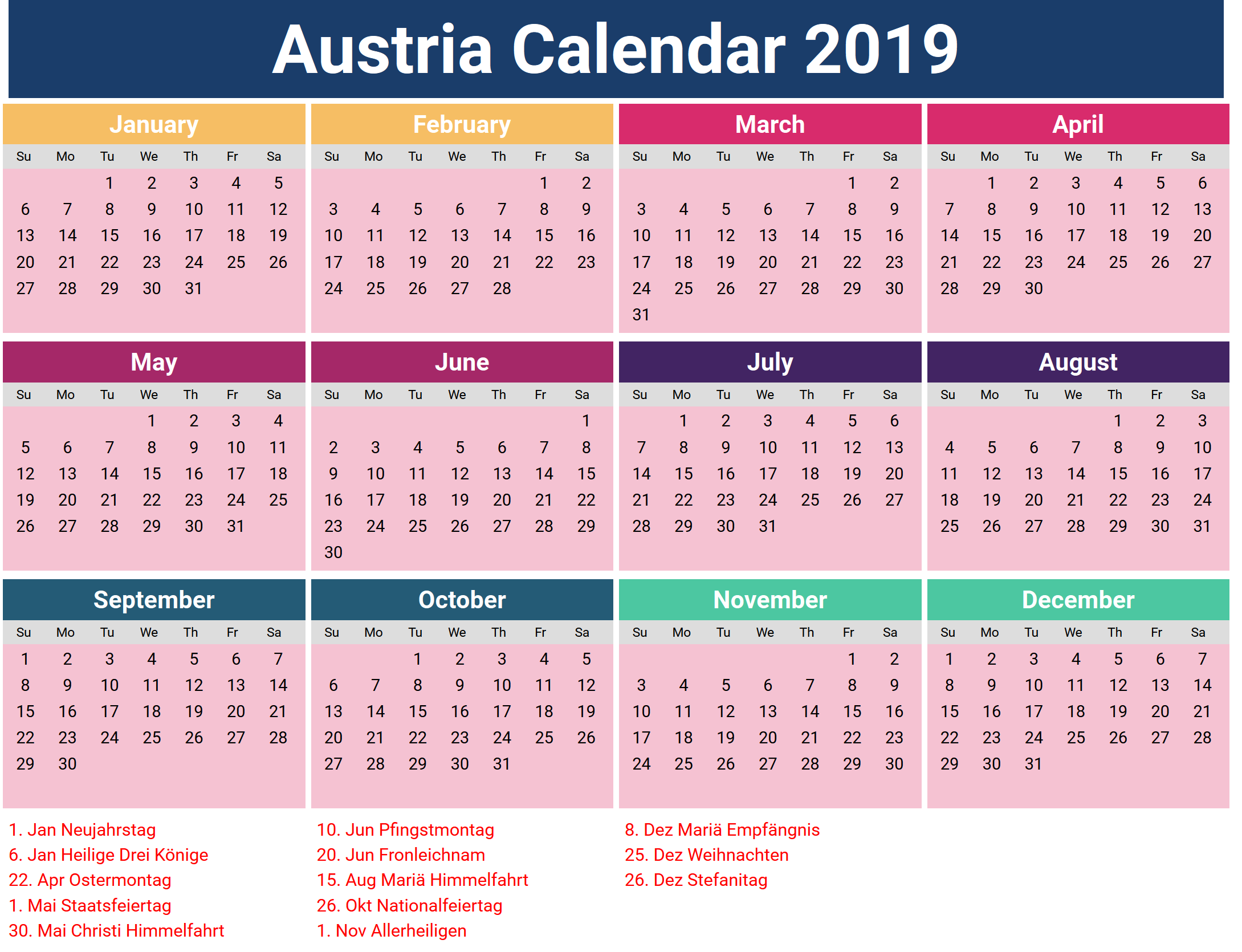 Printable Calendar 2019 with Austria Holidays