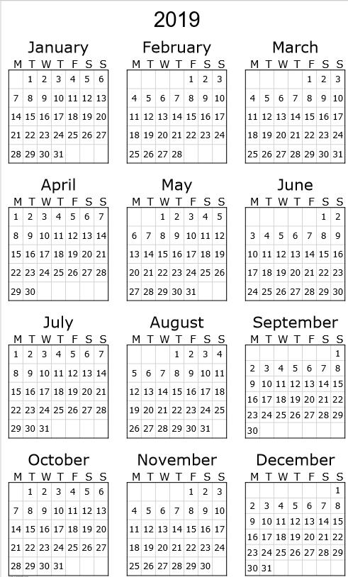 2019 Photo Desk Calendar