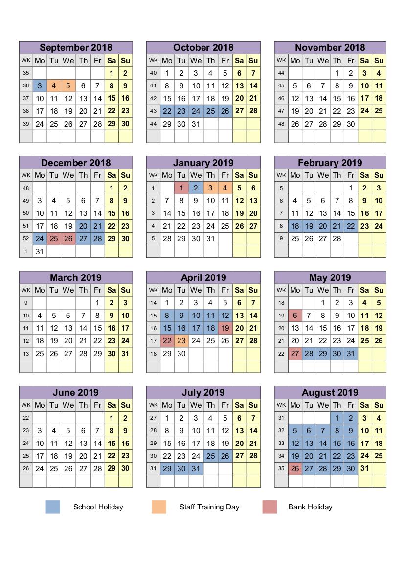 Printable Calendar 2019 QLD [Queensland] Template