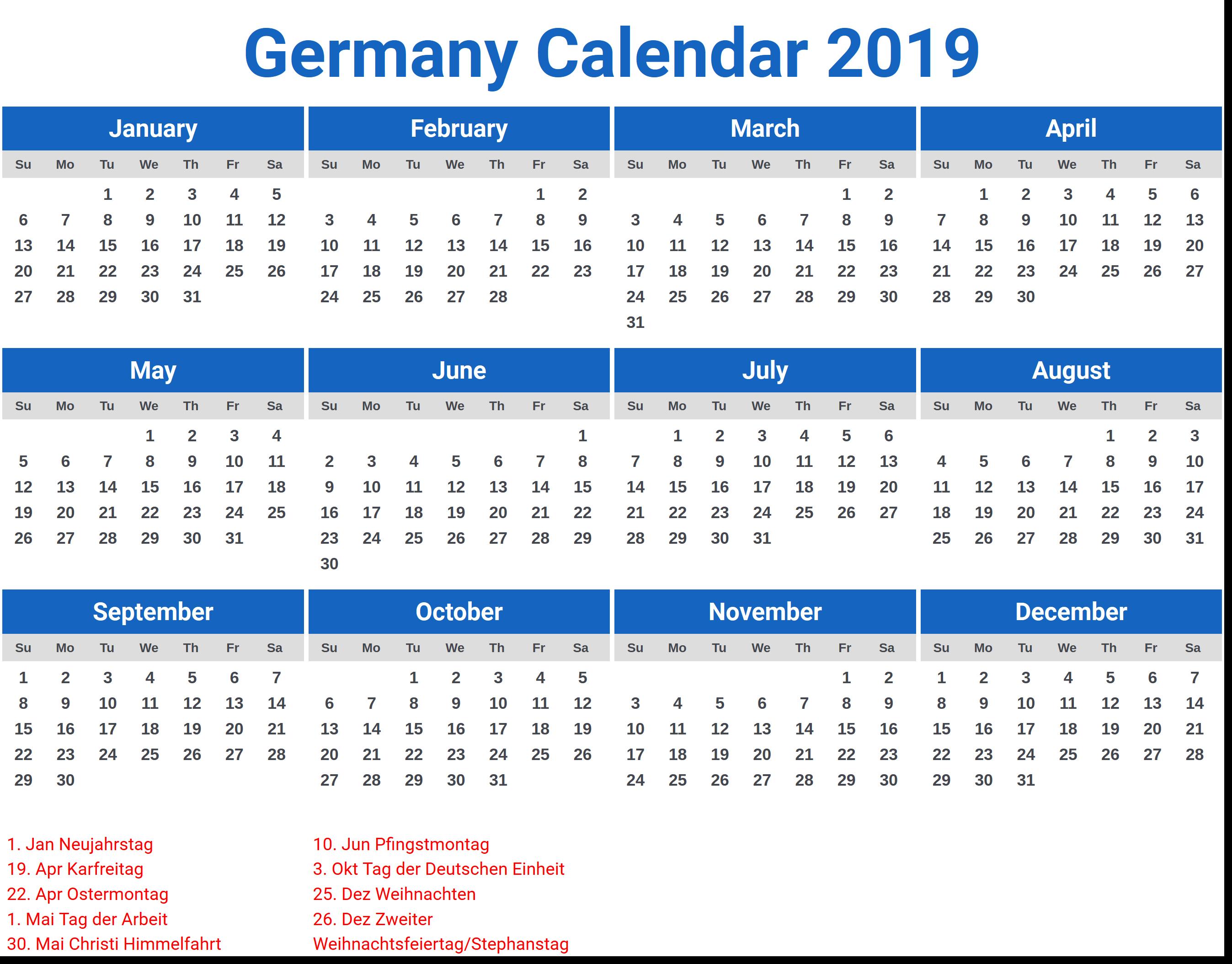 Germany Calendar Printable 2019